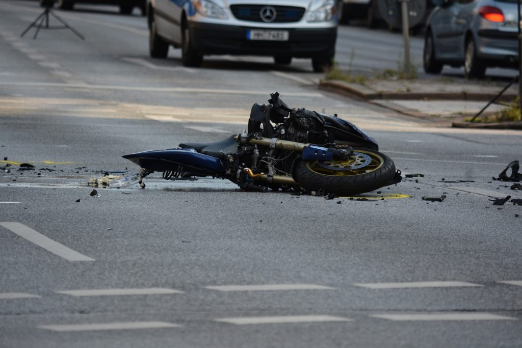This is a wrecked motorcycle from an accident