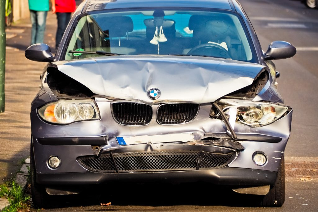 This is an image of a BMW that has been in an accident.