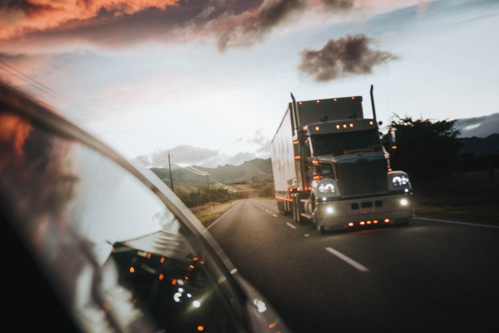 This is an image of a truck on the road.