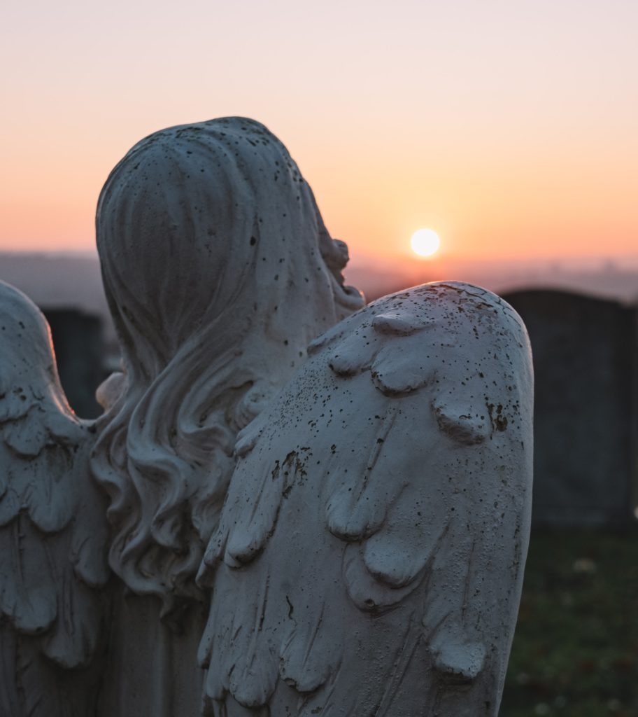 This is an image of an angel statute at a cemetery used as the spotlight image on this wrongful death article.